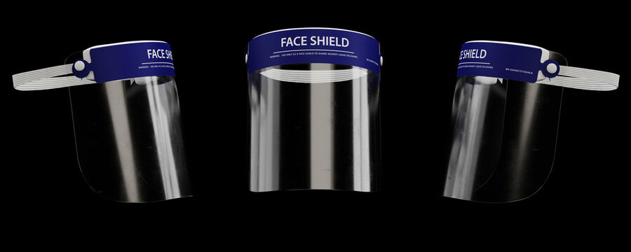Face shield medical visualization, 3D illustration