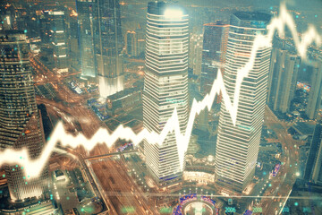 Financial chart on city scape with tall buildings background multi exposure. Analysis concept. Fotobehang