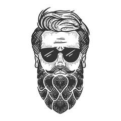 Man with hop beard sketch raster illustration