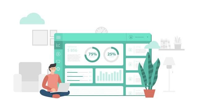 website dashboard application report with modern flat style and minimalist green color theme