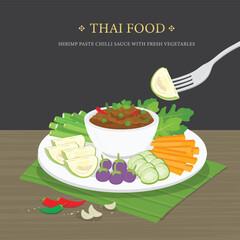 Obraz Set of Traditional Thai food, Shrimp Paste Chili Sauce (Nam Prik Ka Pi) with fresh vegetables. Cartoon Vector illustration. - fototapety do salonu