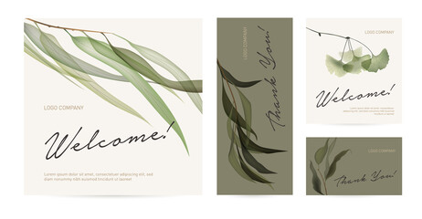 A set of postcard with the words of gratitude. Design template of business cards or banners with green leaves for the hotel, beauty salon, spa, restaurant, club. Vector illustration