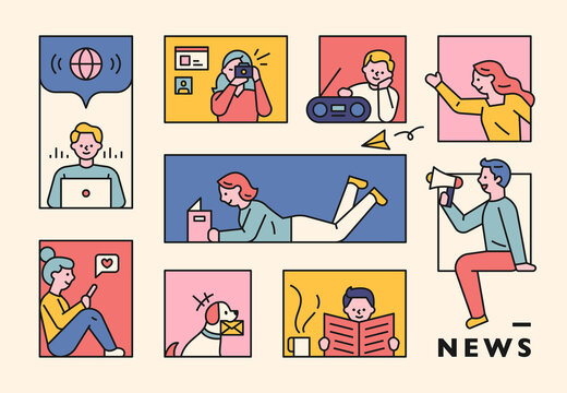 People are notifying and receiving news through various media. flat design style minimal vector illustration.