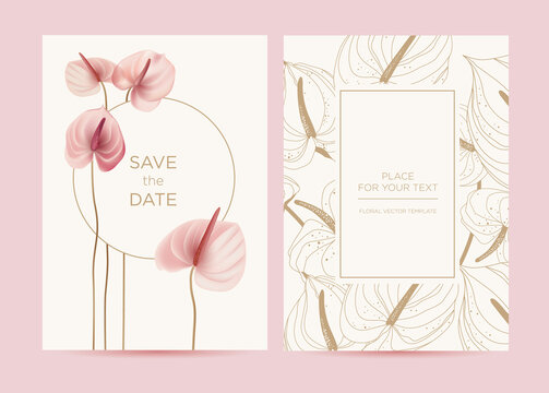 Wedding invitation in the botanical style. Pink anthurium flowers on a delicate background. Background for the invitation, shop, beauty salon, spa.
