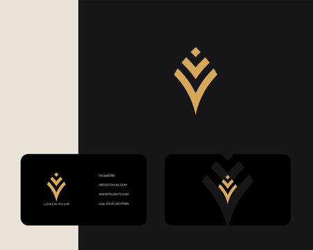 Letter V V logo design with business card vector template. creative minimal monochrome monogram symbol. Premium business logotype. Graphic alphabet symbol for corporate identity