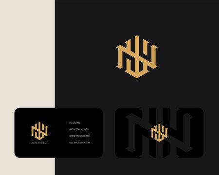 Letter W N logo design with business card vector template. creative minimal monochrome monogram symbol. Premium business logotype. Graphic alphabet symbol for corporate identity