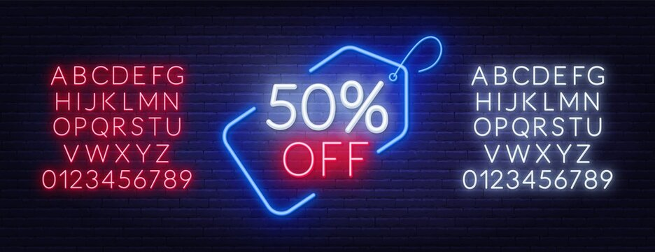 50 percent off neon sign. Neon alphabet on brick wall background.