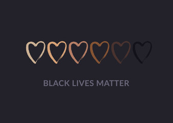 Row of hand drawn hearts colored from white to black with Black lives matter slogan. Anti racism and racial equality and tolerance banner. Vector illustration, social media template, dark background