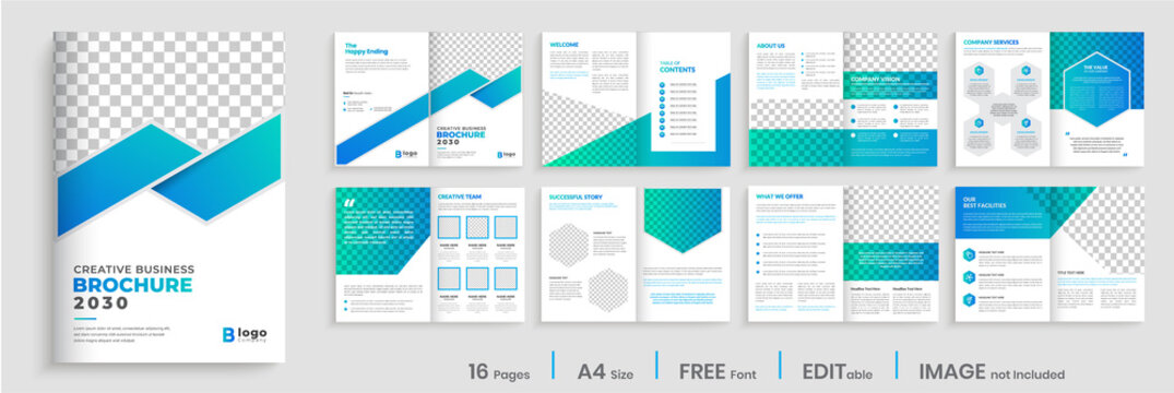 Brochure template layout design, Brochure deisgn with blue gradient modern shapes, annual report minimal, multipage brochure template layout.