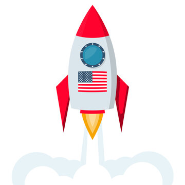 Spacecraft launch. Flag of the United States. Space center. Vector illustration flat design. Isolated on white background.