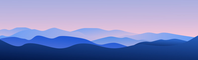 Panoramic landscape of mountains and sunset - Vector