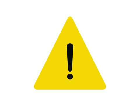 Alert icon. Yellow triangle alert vector illustration.