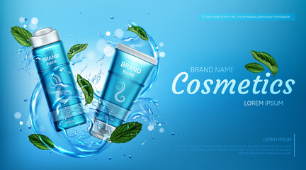 Cosmetic products in water splash with mint leaves. Vector realistic brand poster with shampoo and conditioner in blue tube for hair care. Promo banner, advertising background