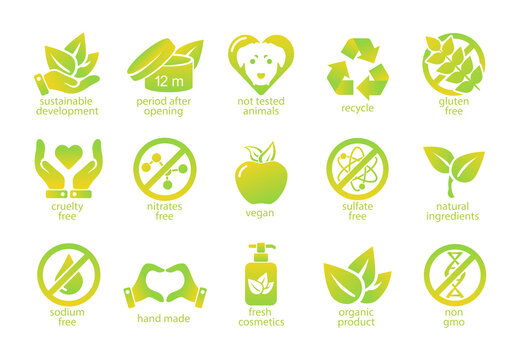Set of natural and organic flat icons. Bundle of icon for eco products. Vector.