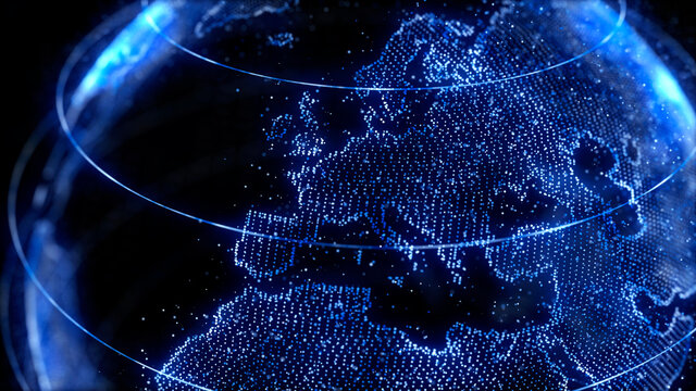 3D earth globe simulation with blue lights particles mapspinning depth of field global data networking business europe, denmark, finland, sweden, spain, italy