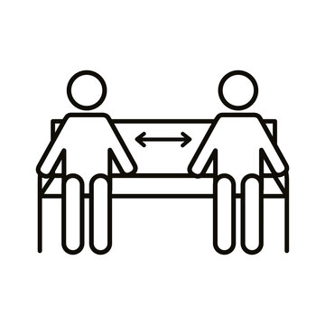 figures humans with arrows in park chair social distance line style
