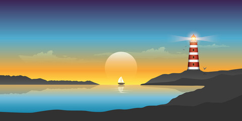 Photo sur Plexiglas Aubergine sailboat and lighthouse by the ocean at sunset beautiful seascape vector illustration EPS10
