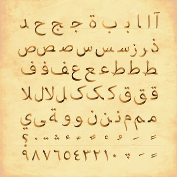 Complete set of arabic alphabet font character with numbers