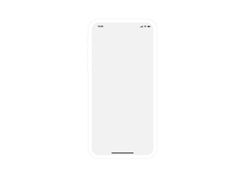Mobile Phone White Mockup Template Vector Outline