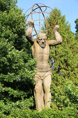 Historic sculpture of Hercules in the baroque garden at Harkotten Castle, Sassenberg, Westphalia, Germany, 05-29-2020