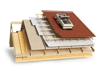 Obraz Layered scheme of roof covering and window installing, 3d illustration - fototapety do salonu
