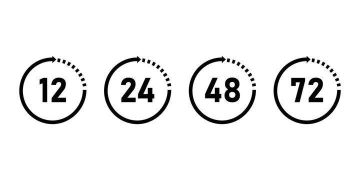 Clock hours work icon, vector clock with arrow.
