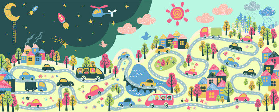 giant kind poster with city life - cars, school buses, roads, night and day, buildings, trees, flowers, bridge, river, lake, moon, sun, rail, clouds, sun - flat hand drawn vector illustration