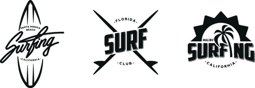 Set of vintage surfing graphics, logos, labels and emblems. Surf t-shirt design.