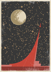 Retro Space Program Propaganda Poster Stylization, Rocket Launch. Retro Colors, Grunge Texture Pattern