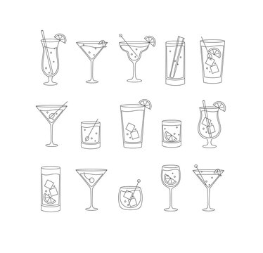 Alcohol drinks and cocktails icon flat set
