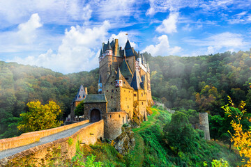wonderful castle Burg Etz . Medieval monuments of Germany. One of the most beautiful and famous castles of Europe