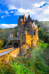 amazing castle Burg Etz over sunset. Medieval monuments of Germany. One of the most beautiful and famous castles of Europe