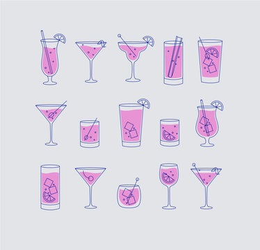 Alcohol drinks and cocktails icon flat set grey