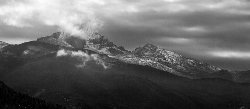 Black and White View of Rocky Mountain National Park, Colorado, USA