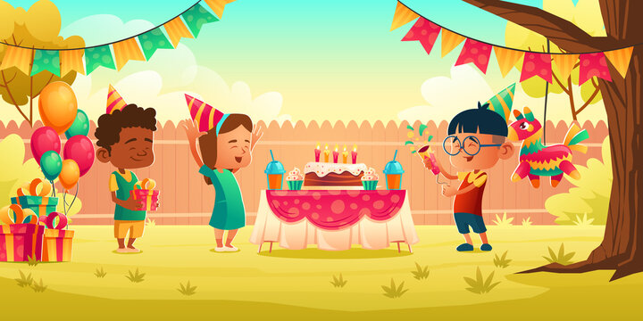 Girl celebrate birthday with friends, receive gift on house backyard with decoration, festive cake with candles. Little child in hat get present from guests. Children party Cartoon vector illustration