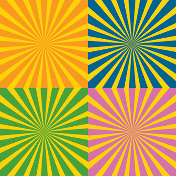 vector Sunburst Rays Background set. creative background design ( 4 color background )