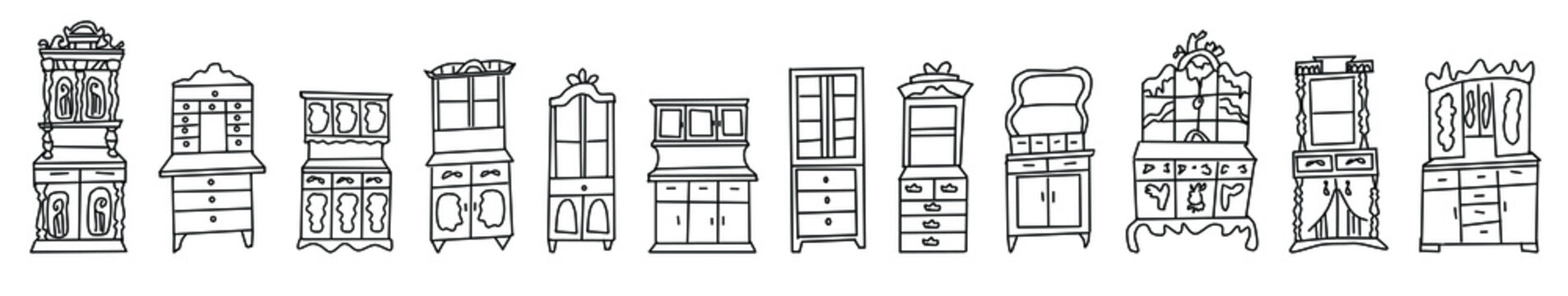 Set of antique cabinets drawn in sketch style.Collection of antique wardrobes isolated on a white background.Furniture and decorative elements for Doodle-style interiors.Hand drawn vector illustration