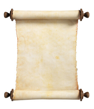 Vertical scroll or parchment with wooden handles. Isolated, clipping path included.