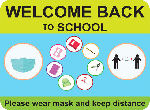 Welcome back to school, keep your distance, Vector illustration sign for post covid-19 Coronavirus pandemic, covid19 safe economy and environment education concept
