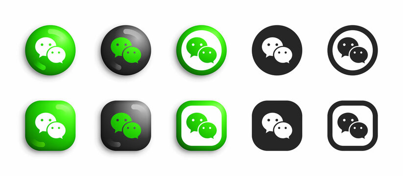 Wechat Modern 3D And Flat Icons Set Vector Isolated On White Background. Popular Social Media Network Logo In Different Styles For Digital Business
