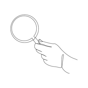 Continuous line drawing of hand holding magnifying glass . Vector illustration