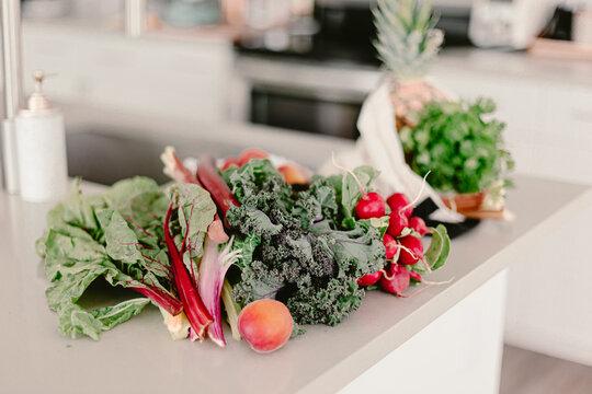 Farmers market organic bio clean fresh vegetables. Radish, kale, chard, rhubarb. Zero waste reusable recycle cotton shopping bag. Modern bright white kitchen. Eco life. Green, red. Vegan. clean food