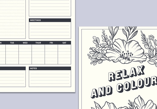 Planner Layout with Coloring Book Page