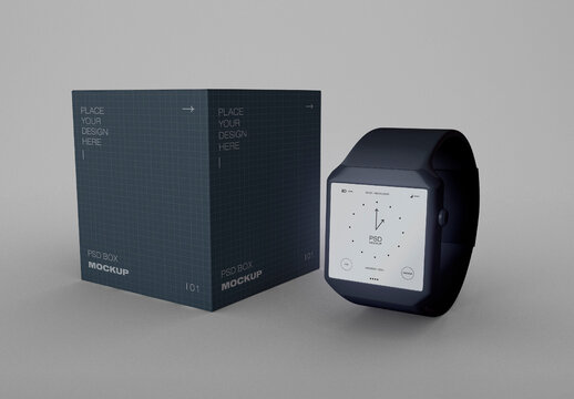 Smart Watch with Box Mockup