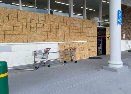 boarded up to protect from rioting and looting