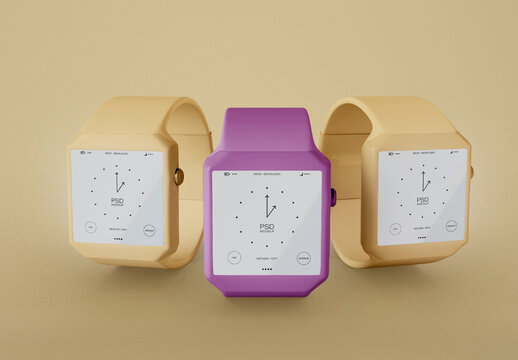 Front View of 3 Smart Watch Mockup