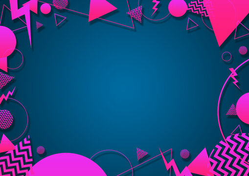 A turquoise, pink and coral retro vaporwave 90's style random geometric shapes border with vibrant neon color palette on a radial gradient background