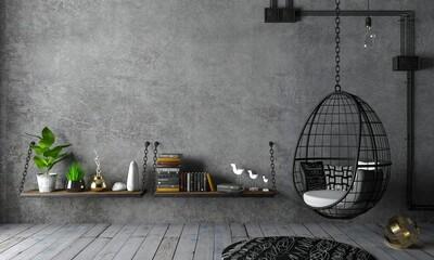 Estores personalizados con motivos artísticos con tu foto Loft interior and hanging black chair cocoon