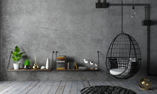Loft interior and hanging black chair cocoon