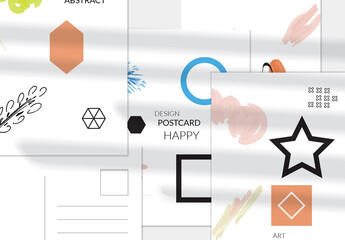 Vertical Black Star and Blue Circle Postcard Layout